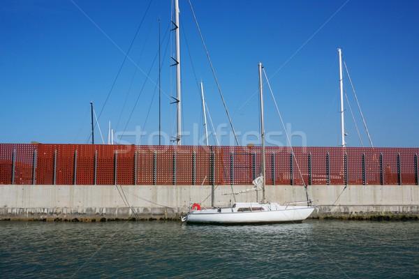 Vissersboot muur Blauw boot schip vissen Stockfoto © Nejron