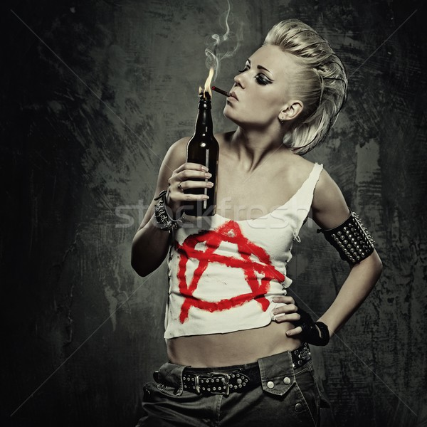 Punk girl smoking a cigarette Stock photo © Nejron