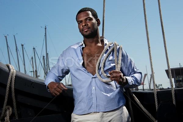 Przystojny marynarz łodzi moda model łodzi Zdjęcia stock © Nejron