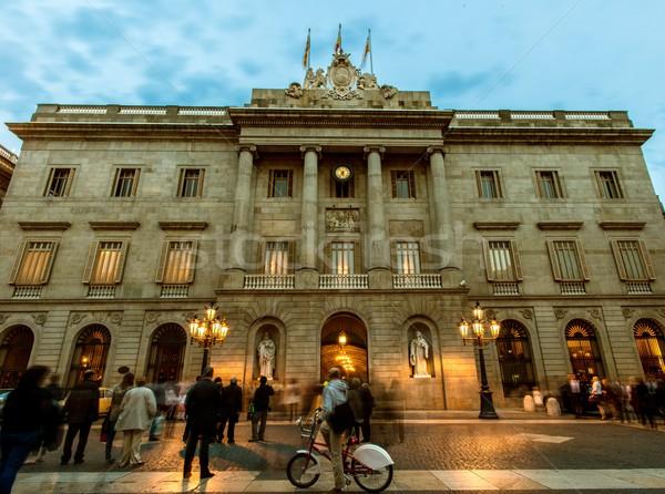 People infront of building on Plaza de la Constitucion, Barcelona Stock photo © Nejron