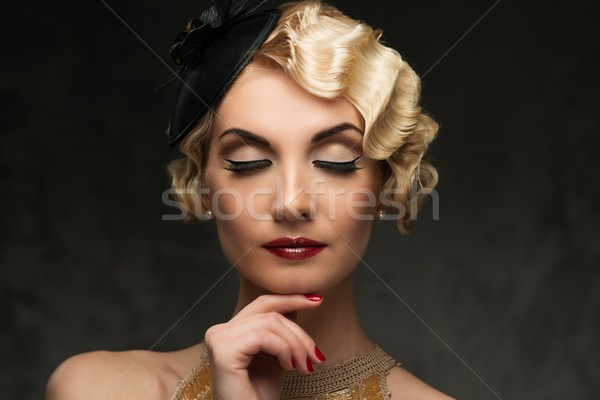 Eleganten blond Retro Frau golden Kleid Stock foto © Nejron