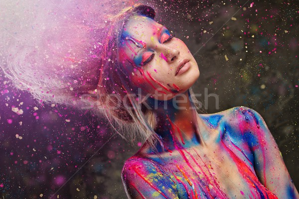 Mulher jovem musa criador arte corporal penteado moda Foto stock © Nejron