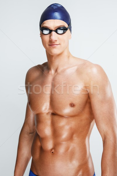 Young athletic man  in swimming cap and googles  Stock photo © Nejron
