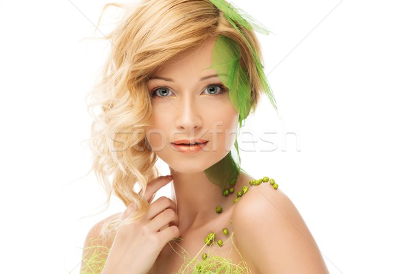 Belle jeune femme printemps costume toucher visage Photo stock © Nejron