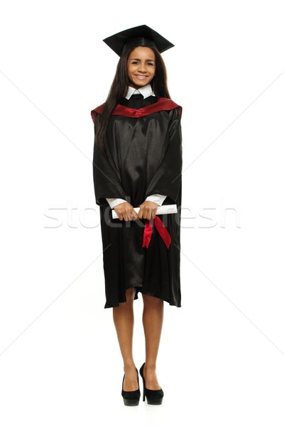 Happy graduated african-american student girl isolated on white Stock photo © Nejron