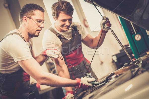Stock fotó: Kettő · mechanika · olaj · szint · autó · műhely