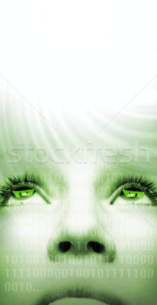 Cyber girl's face with a light coming from above Stock photo © Nejron