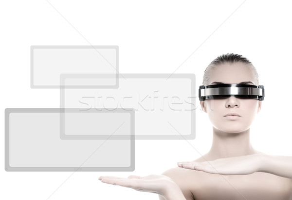 Beautiful cyber woman isolated on white background