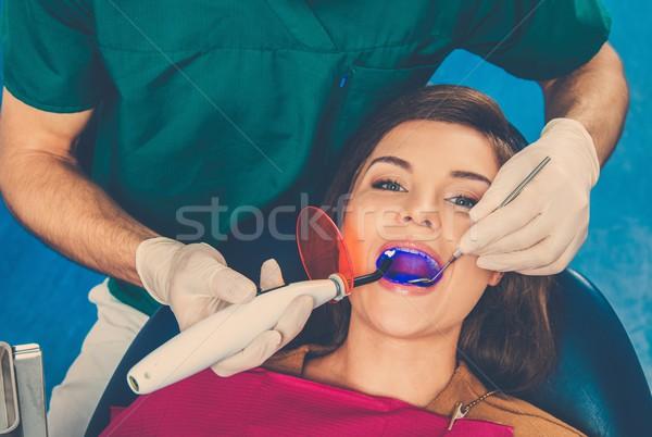 Stockfoto: Jonge · mooie · brunette · vrouw · tandartsen · chirurgie