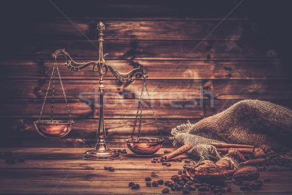 Coffee theme with brass scales still-life on wooden table  Stock photo © Nejron