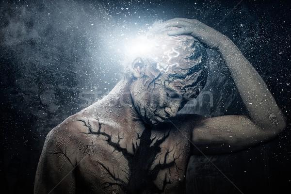Man with conceptual spiritual body art Stock photo © Nejron