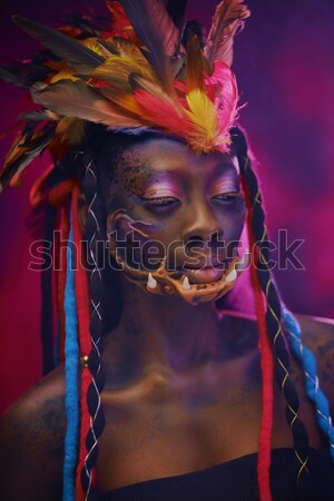 Woman face with creative make-up and body art Stock photo © Nejron