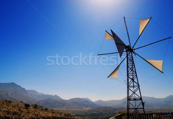Old broken windmill (Crete, Greece) Stock photo © Nejron
