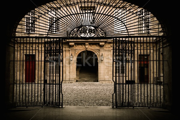 Old building entrance behind metal gate Stock photo © Nejron
