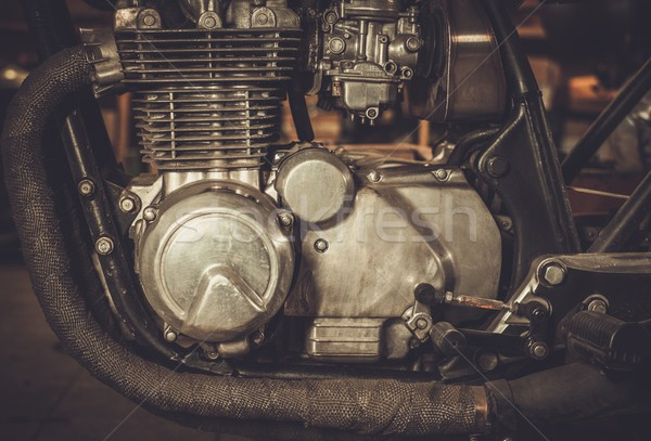 Close-up of a cafe-racer motorcycle engine  Stock photo © Nejron