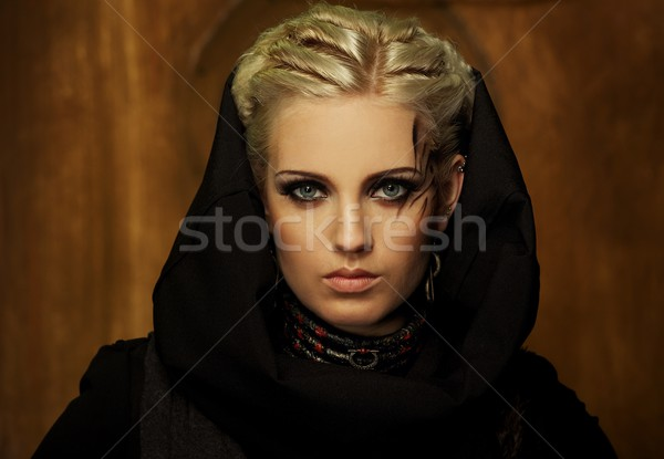 Blond girl with a ethnic necklace portrait Stock photo © Nejron