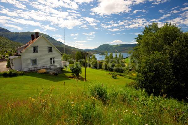 Farmhouse in scandinavian landscape Stock photo © Nejron