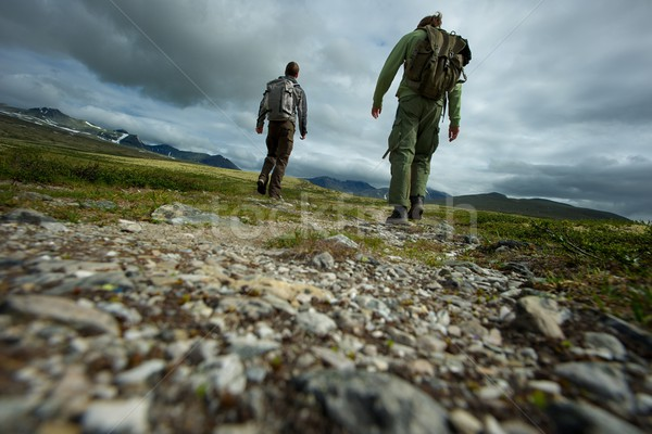 PIcture of a two hikers walking Stock photo © Nejron