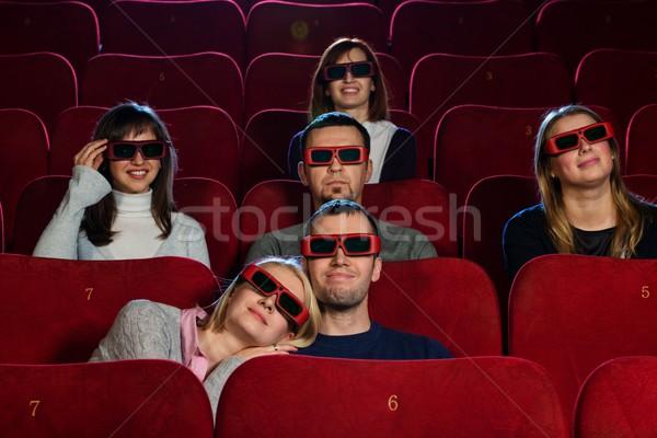 Grupy młodych ludzi oglądania film kina kobieta Zdjęcia stock © Nejron