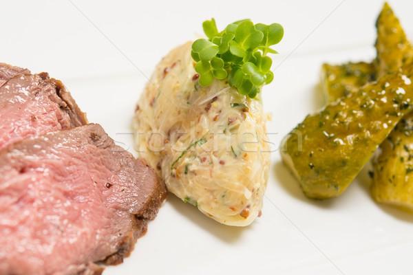 Fette carne marinato cetrioli alimentare piatto Foto d'archivio © Nejron