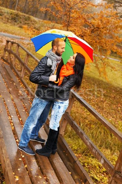 Feliz Pareja paraguas aire libre hermosa Foto stock © Nejron