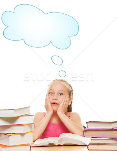 Pequeño colegiala libros belleza educación adolescente Foto stock © Nejron