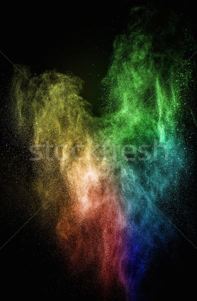 Stok fotoğraf: Renkli · toz · yalıtılmış · siyah · soyut · patlama