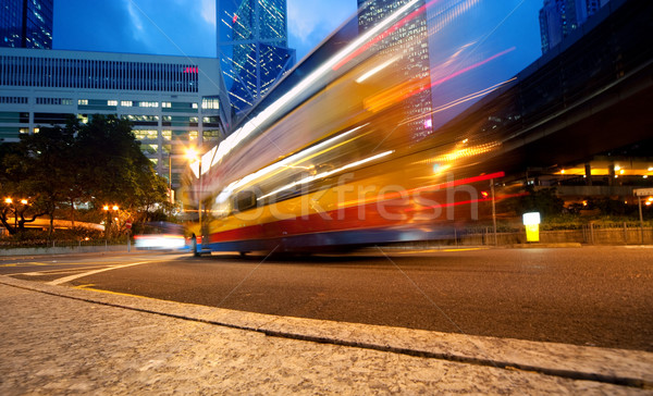 Szybko ruchu autobus noc drogowego tle Zdjęcia stock © Nejron