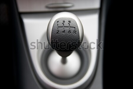 Six speed gear stick in a brand new sport car (shallow DoF) Stock photo © Nejron