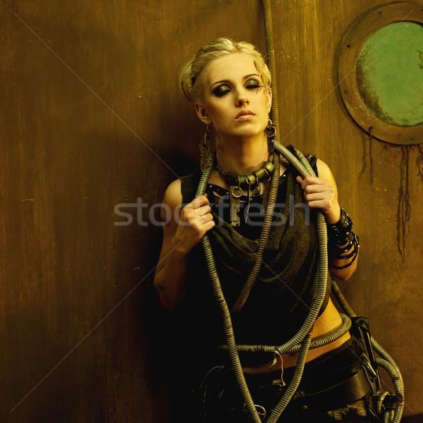 Blond girl in a bunker Stock photo © Nejron