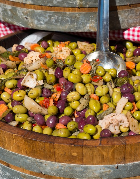 Diverso colorato olive barile alimentare legno Foto d'archivio © Nejron
