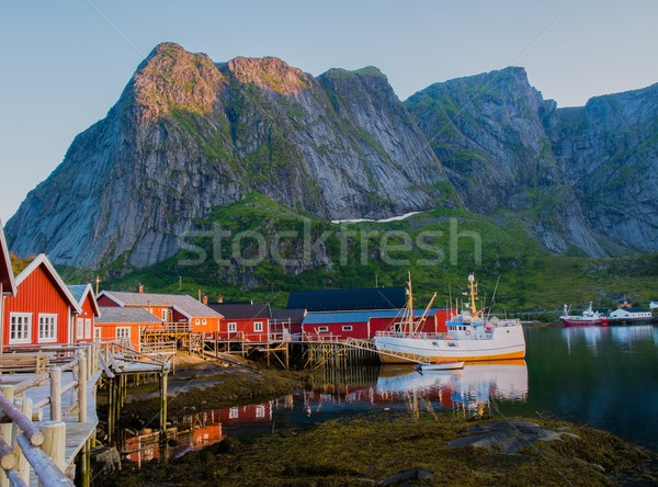 Traditional fishing boat in Reine village, Norway Stock photo © Nejron
