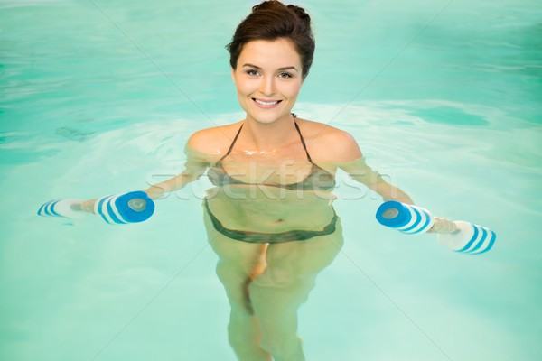 Vrouw water aerobics training sport zwembad Stockfoto © Nejron