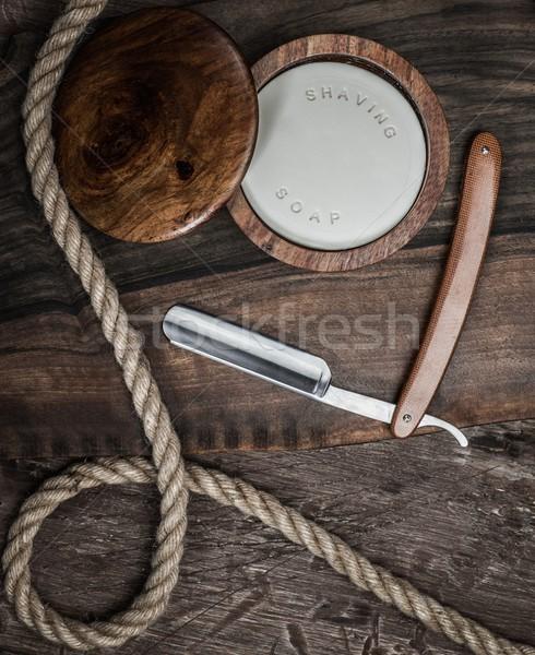 Stock fotó: Kellékek · luxus · fából · készült · arc · férfi · haj