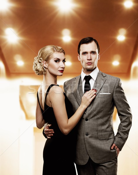 Retro couple in elevator. Stock photo © Nejron