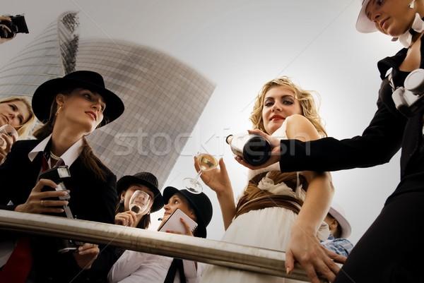 Superstar drinken mensen rond vrouw glas Stockfoto © Nejron