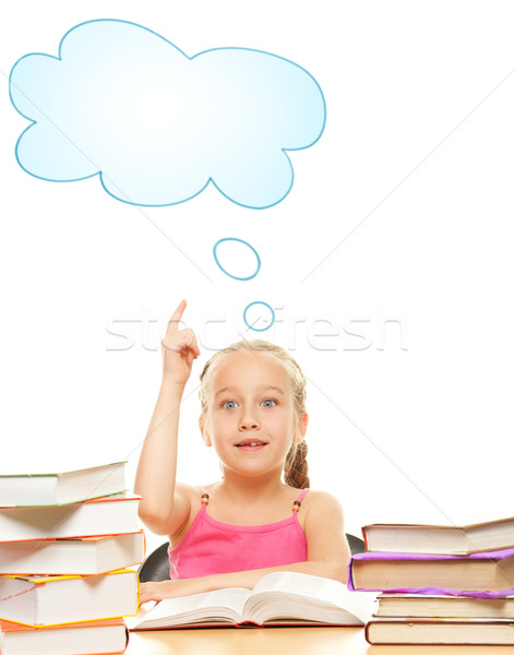 Little schoolgirl raised her hand to answer question