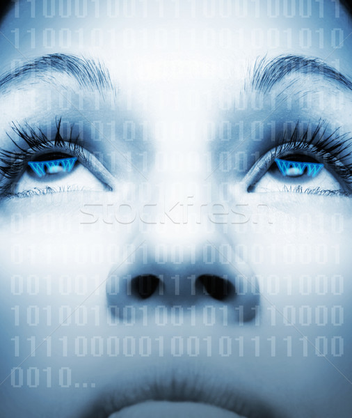 Cyber girl's face on abstract background Stock photo © Nejron