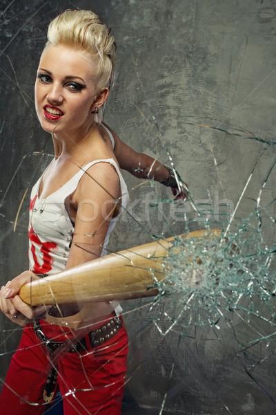 Punk nina vidrio bate cara pintura Foto stock © Nejron