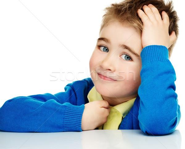 Stockfoto: Vrolijk · weinig · jongen · Blauw · cardigan · Geel