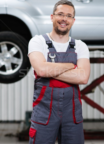 Stock photo: Serviceman in a car workshop