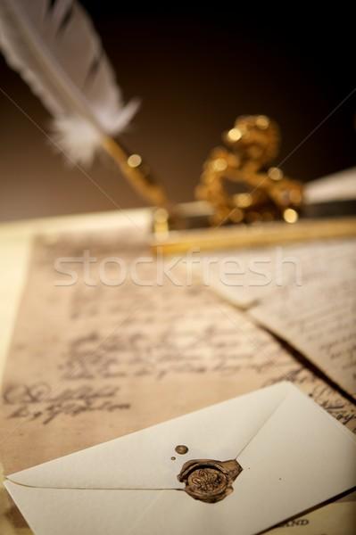 Stok fotoğraf: Zarf · eski · balmumu · damga · kâğıt · sanat