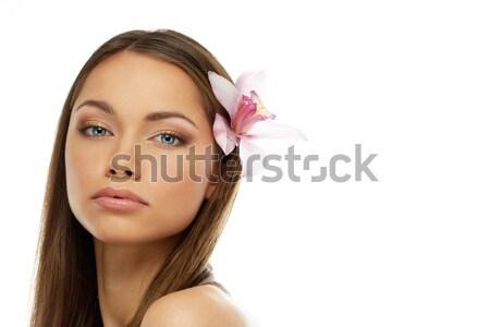 Belle jeunes brunette femme yeux bleus papillon Photo stock © Nejron
