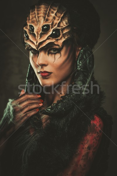 Fiatal nő pók testművészet maszk arc haj Stock fotó © Nejron