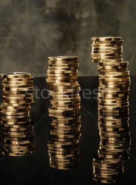 Three piles of golden coins Stock photo © Nejron