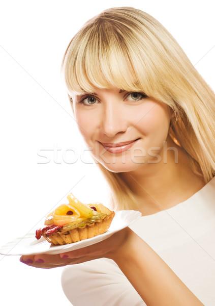 Mooie jonge vrouw fruitcake geïsoleerd witte meisje Stockfoto © Nejron
