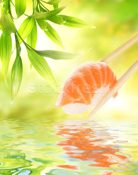 Ahşap Çin yemek çubukları somon sashimi su Stok fotoğraf © Nejron