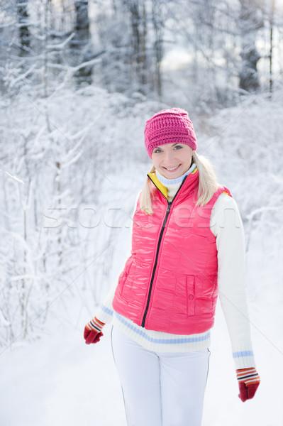 Foto stock: Hermosa · invierno · forestales · cara · moda