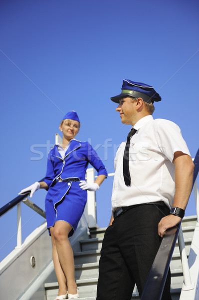Photos couple hommes bleu avion Photo stock © Nejron