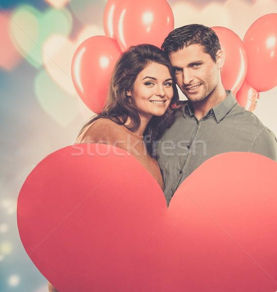 Para wykonany ręcznie papieru serca czerwony Zdjęcia stock © Nejron